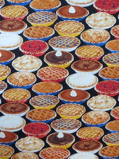 Colorful Pies of All KInds Print Pure Cotton Fabric from Timeless Treasures--One Yard