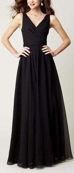 A v-neck bridesmaid dress in an elegant chiffon. | Kennedy Blue Anna