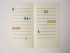 estliche Ziffern (Festive Numerals), designed by Hermann Zapf in 1950 for D. Stempel AG in Frankfurt. Inside of brochure.