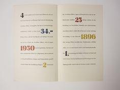 Hermann Zapf // estliche Ziffern (Festive Numerals) // 1950 // Inside of brochure for D. Stempel AG in Frankfurt