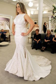 Season 14 Featured Dress: LOVE by Pnina Tornai. Sleeves with lace, V and lace cutouts, trumpet. $3,000.