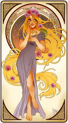 Esta é uma série de ilustrações de Hannah Alexander que reinventa as princesas disney ao estilo art noveau e oferece uma estética refinada para as princesas
