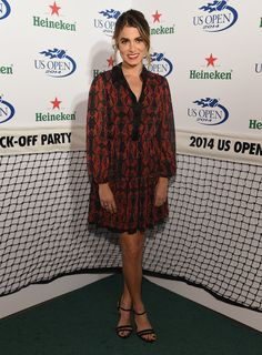 Nikki Reed in a boho-inspired pleated dress.