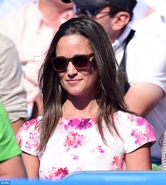 Pippa Middleton watches the tennis during day five of the the Aegon Championships at The Queen's Club, London, wearing the Tabitha Webb dress she designed for charity