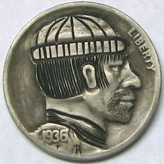 RUTH BORM HOBO NICKEL - FISHERMAN/THE SEA - OBVERSE OF 2 SIDED 1936 BUFFALO NICKEL CARVING Hobo Nickel, Buffalo, Coins, Carving, Sea, Rooms, Wood Carvings, Sculptures, The Ocean
