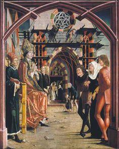 Auf dem Bild empfängt der auf dem Domplatz sitzende Bischof die Hilfesuchenden: eine geistig verwirrte Frau wird gebracht, weiter hinten nähern sich zwei Bettler. In einer Parallelszene im Hintergrund unter dem Kirchenportal führt er an der Frau gerade den Exorzismus durch.