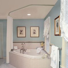 Garden tub with shower curtain rod for bathrooms remodel corner garden tub corner garden tub shower Corner Bathtub Shower, Bathroom Tub Shower, Small Bathroom, Corner Tub Shower Combo, Paint Bathroom, Master Bathroom, Bathroom Ideas, Glass Shower, Bathroom Signs