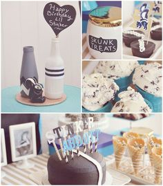 Skunk themed birthday party with So Many Fun Ideas via Kara's Party Ideas Kara's Party Ideas | Cake, decor, cupcakes, games and more! KarasP...