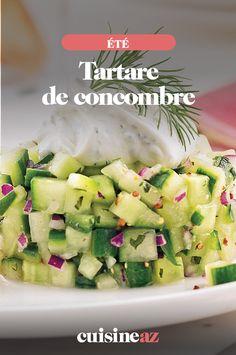 Comme entrée froide d'été, ce tartare de concombre est parfait !  #recette#cuisine#concombre#tartare #ete Celery, Parfait, Comme, Potato Salad, Potatoes, Vegetables, Ethnic Recipes, Desserts, Food
