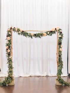 Birch Arch & Seeded Eucalyptus Garland for the indoor ceremony at 19 East Fall Wedding