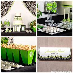 Gorgeous apple green and black & white damask dessert buffet