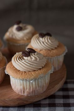 Coffee Sponge Cupcake - a rare but easy combination of pillowy soft sponge in a cup with delicious salted coffee butter cream.