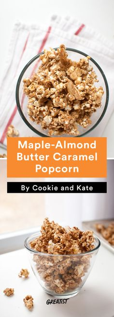 4. Maple-Almond Butter Caramel Popcorn #healthy #gameday #recipes http://greatist.com/eat/game-day-recipes-that-wont-leave-you-in-a-food-coma