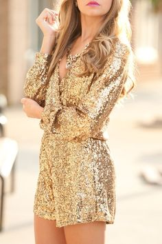 28 Gorgeous Bachelorette Outfits With A Wow Factor: Gold sequin romper with a low cut Fashion Mode, Gold Fashion, Fashion Beauty, Womens Fashion, Fashion Trends, Latest Fashion, Luxury Fashion, Street Fashion, Bachelorette Outfits