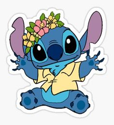Pegatina Stitch wearing flower crown