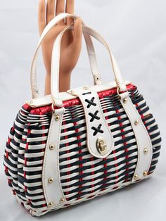 Vintage red white and blue purse