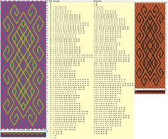 40 cards, 3 colors, repeats every 68 rows, GTT༺❁ Inkle Weaving, Inkle Loom, Card Weaving, Tablet Weaving Patterns, Weaving Textiles, Loom Patterns, Finger Weaving, Willow Weaving, Weaving Projects