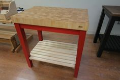 Red Butcher Block Kitchen Cart with Maple Top by McClure Tables.