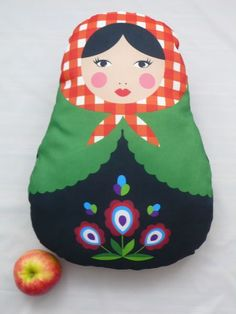 Big Matryoshka PillowRed Green Babushka Pillow by baboshkaa, $28.00