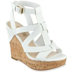 Guessnull White Harlea Cork Wedge Sandal - Women's ($24) ❤ liked on Polyvore featuring shoes, sandals, heels, wedges, zapatos, white, white strappy sandals, white strap sandals, wedge shoes and white cork wedge sandals