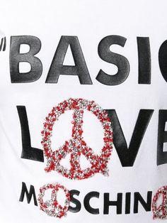Shop Love Moschino printed slogan T-shirt.