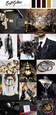 Soft Gothic Wedding Inspiration, Dark and Moody Details