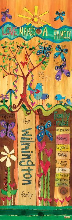custom family name art pole by stephanie burgess of painted peace Family Name Art, Family Rules, Modern Birdhouses, Peace Pole, Garden Poles, Pole Art, Custom Art, Yard Art, Bunt