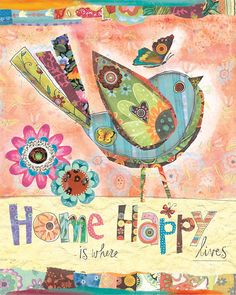 Live Happily Bird and Butterfly art by Lori by LoriSiebertStudio