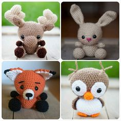Pattern Combo Pack: 4 woodland creature patterns crochet owl, crochet fox, crochet bunny, crochet moose, by TheresasCrochetShop