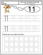 okul öncesi 11 sayısı çizgi çalışması