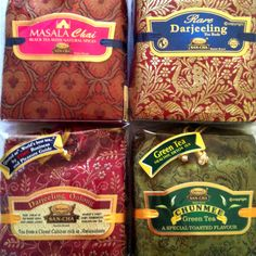 San-cha Indian teas sold in beautiful brocade bags