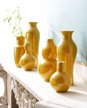 A collection of  six yellow vases. Great color!