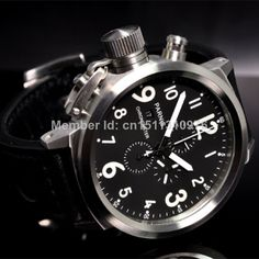 Parnis Big Face 50mm black dial stainless steel case