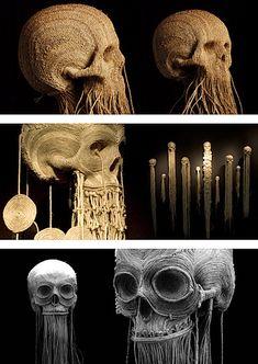 Wow, Jim's skull art is completely breathtaking. Via Who Killed Bambi? More: Pill head / Numb skull Latch hook skull