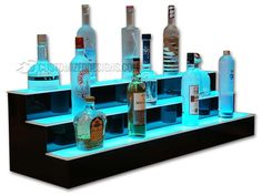 Our 3 tier led liquor shelves are perfect for bars large and small. Whether it's for your restaurant, nightclub or home bar, our bottle displays are sure to make an impact and keep your highest margin liquor out of the dark! Bar Shelves, Glass Shelves, Display Shelves, Liquor Shelves, Shelving, Shelf, Display Case, Lighting System, Bar Lighting