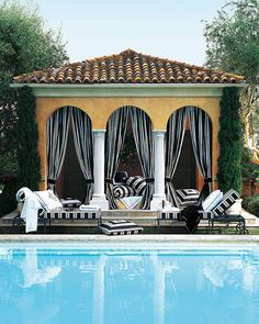 Poolside cabana glamour framed by Ralph Lauren Home graphic black and white fabric Pool Bar, Pool Lounge, Outdoor Rooms, Outdoor Living, Home Modern, Pool Cabana, Cool Pools, Interior Exterior, Pool Houses