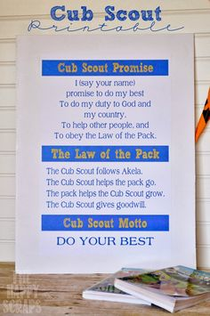 Cub Scout Poster including the Cub Scout Promise, Law of the Pack and Motto… Cub Scout Law, Cub Scouts Wolf, Tiger Scouts, Boy Scout Crafts, Girl Scout Swap, Girl Scout Leader, Cub Scout Activities, Scout Camping, Eagle Scout
