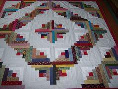 Scrappy Barn Raising Log Cabin Quilt Top 89 x 89 Calico Cotton Fabrics | eBay