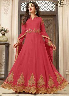 Churidar Anarkali Georgette Pink Salwar Kameez
