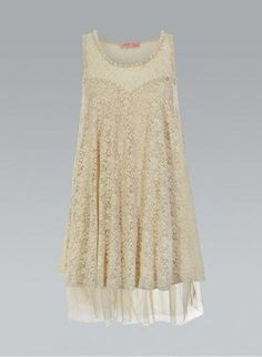 Cream Vintage Lace Floral Dress with a Satin Lining and Pear