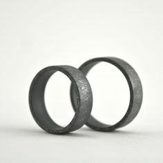 Roughed Up Sterling Silver Ring Set 6 mm Oxidized by CocoandChia