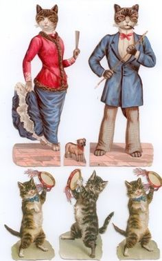 Victorian scrap: cats with tambourines by Helena Maguire; dressed cats are not.