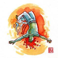 Illustration : Capoeira – 690 [ #capoeira #watercolor #illustration]