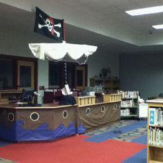 Pirate ship desk in media center