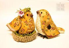 """Como fazer uma lembrança """"Pássaros de Primavera"""" - Mestres Feira - artesanal, feito à mão"""