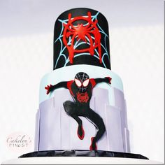 Awesome Miles Morales: Into The Spider-Verse Cake made by Cakelyn's Finest Spiderman Theme Party, Spiderman Birthday Cake, Superhero Cake, Superhero Birthday Party, 8th Birthday, Minion Birthday, Spider Man Party, Spider Man Cakes, Hulk