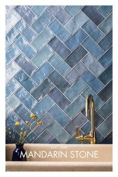Chevron Tile, Herringbone Tile, Minimal House Design, Mandarin Stone, Open Plan Kitchen Living Room, Edwardian House, Downstairs Toilet, Bathroom Design Luxury, Up House