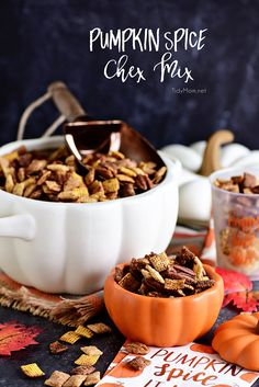 Pumpkin Spice Chex Mix is loaded with sweet and spicy coated cereal, pecans and just the right amount of pumpkin spice flavor for party or game day snacking! Apple Recipes, Pumpkin Recipes, Fall Recipes, New Recipes, Holiday Recipes, Favorite Recipes, Amazing Recipes, Popular Recipes, Easy Snacks