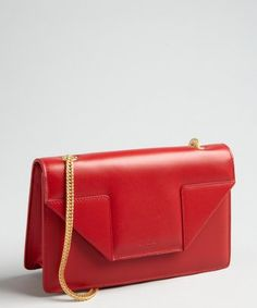 Saint Laurent: red leather 'Betty' envelope chain shoulder bag