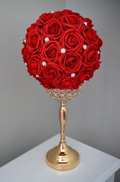 RED Flower Ball with Bling Pearl Brooch. Kissing by KimeeKouture Red Wedding Centerpieces, Quinceanera Centerpieces, Flower Centerpieces, Wedding Decorations, Tall Centerpiece, Elegant Flowers, Red Flowers, Gold Wedding, Wedding Flowers